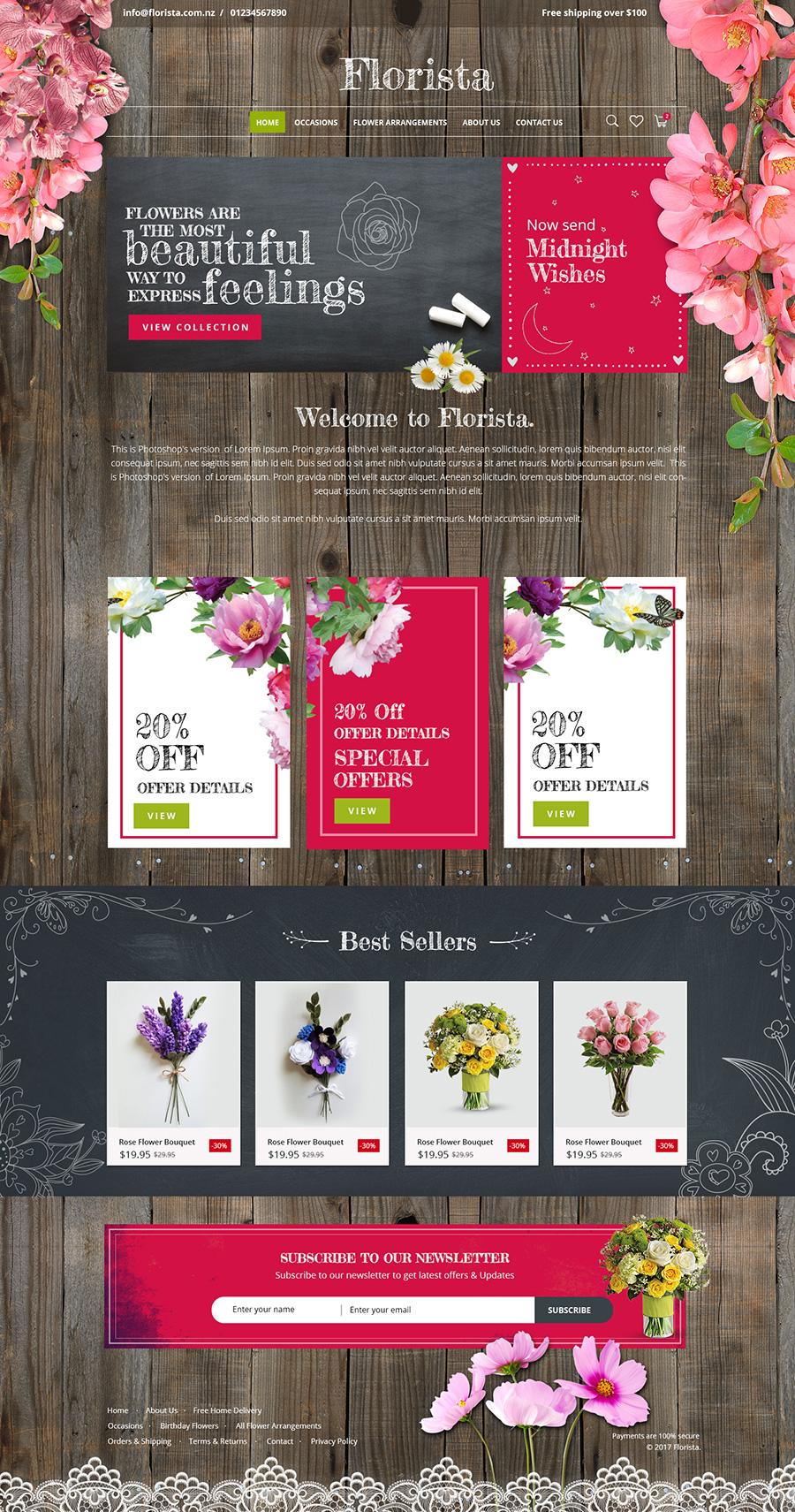 beautiful florist website design